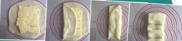 美味好吃的拿破侖,先將較寬的一面卷起來,然后右邊繼續卷起來,變成長條后就像疊被子一樣卷起來。