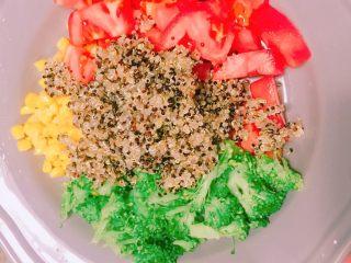 牛排藜麦沙拉🥗,玉米🌽番茄🍅西兰花🌱➕三色藜麦摆盘🥗