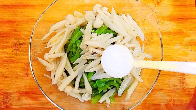 健康饮食之翡翠拌白玉(荷兰豆拌白玉菇),加一小勺盐!
