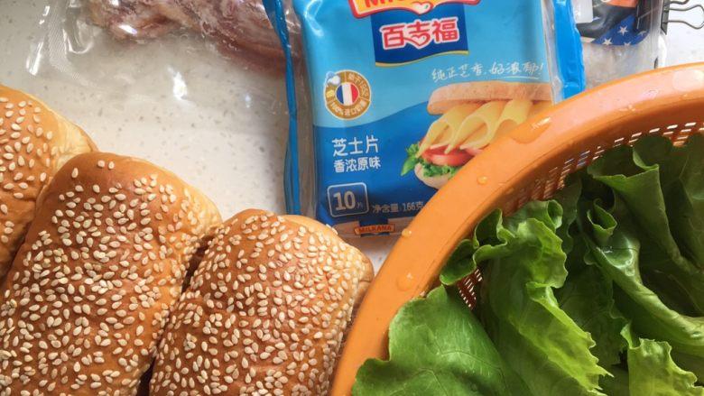 芝士火腿三明治,准备食材