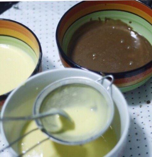 零基础纸杯翻糖蛋糕,搅拌好的蛋糕糊分别过筛一遍,避免有没打匀的面粉影响口感。