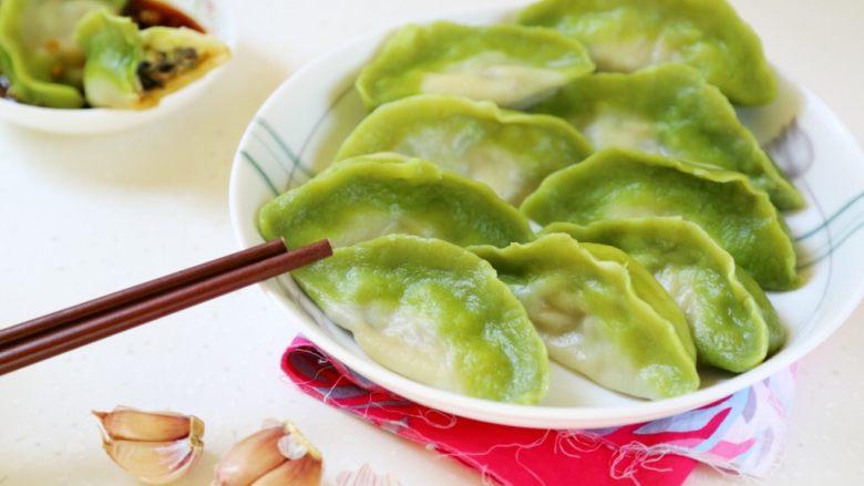 绿色美食+翡翠白菜水饺