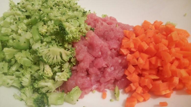 绿色美食+营养饭团,西兰花,瘦肉,胡萝卜放一起