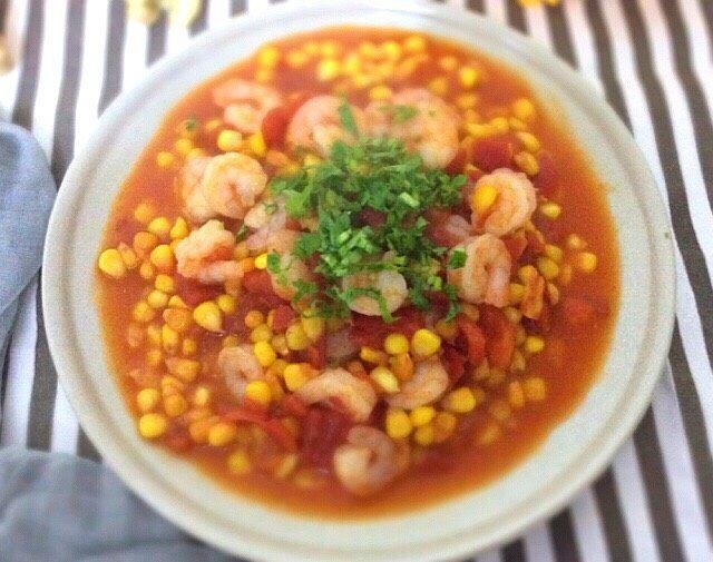 番茄玉米烩虾仁