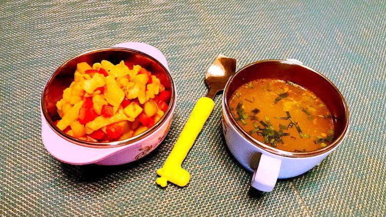 什锦虾仁猫耳面,再配上一碗蔬菜汤就可以了吃了,宝宝特喜欢,吃了满满一碗!