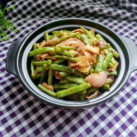绿色美食+干锅四季豆(微辣)