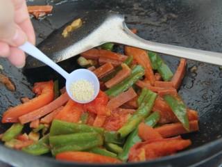 番茄青椒火腿意面,一小勺鸡精