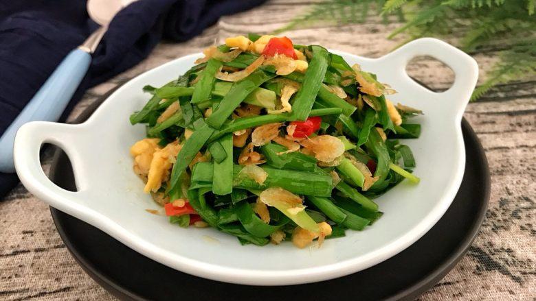 绿色美食~虾皮鸡蛋炒韭菜