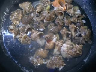 水煮海螺,加热烧开后再煮3到4分钟。