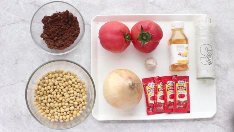 茄汁黄豆,准备好所需食材和调味。