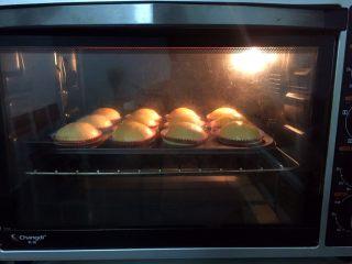 纸杯小面包,放入预热好的烤箱,上火120度,下火150度,中层20分钟(上色满意加盖锡纸直至烤完)