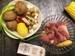 筒骨菌菇汤,准备好所有食材