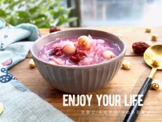 紫薯银耳莲子羹,阳光暖暖的!