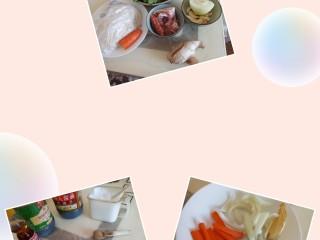 五花肉豆角焖面,准备原料,五花肉切片,洋葱,胡萝卜,姜,腊肠分别切开。豆角去筋,太长的掰开