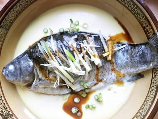 鲫鱼蒸蛋,放上葱和姜,倒点味极鲜