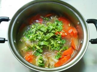 羊油香飘羊排汤,放香菜碎,青蒜碎,葱白碎,关火搅拌一下。