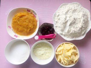 蔓越梅奶香南瓜饼干#家有烤箱#,准备好所需食材。