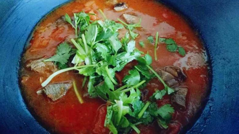 番茄牛肉汤,关火后把切好的香菜加入。