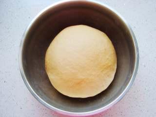 葡萄干红糖欧包,和成面团后,盖上保鲜膜放置温暖处发酵至两倍大。(一次发酵大约需90分钟)