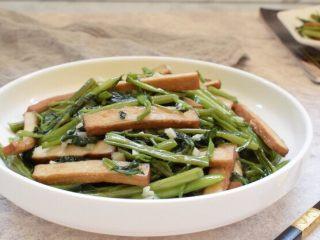 空心菜炒豆干,成品图