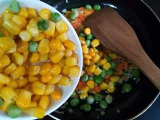 甜香披萨饼(平底锅版),放入沥干水分的玉米粒、青豆