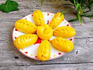 中式面点+南瓜豆沙包,南瓜豆沙包:成品图 敏茹意作品