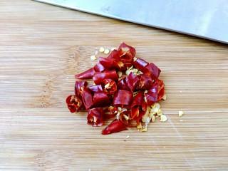 香辣茼蒿,干辣椒切成小丁。