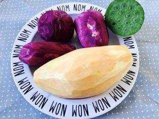 紫薯南瓜饼,紫薯,红薯削皮洗净