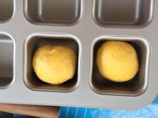 麻糍豆沙南瓜餐包 ,将面团收口朝下,放入模具中。