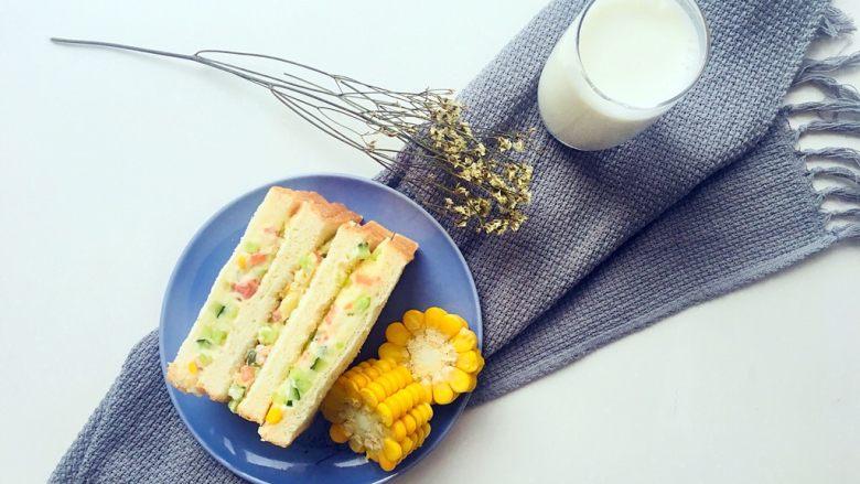 土豆泥三明治,再来一杯热热的牛奶🥛,营养健康……