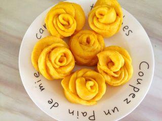 吃掉一朵花+南瓜玫瑰花馒头,蒸出来颜色特别美