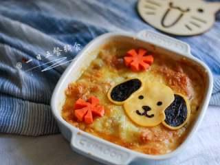 小狗烤鲜蔬焗土豆泥 宝宝辅食,牛奶+玉米+毛豆+番茄+马苏里拉奶酪,呆萌呆萌的造型,宝宝看到就会兴奋。