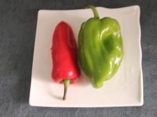 烤鸡肉串,红辣椒和青椒