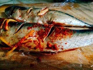 香烤马鲛鱼🐠,取出鱼 在鱼侧面划两刀