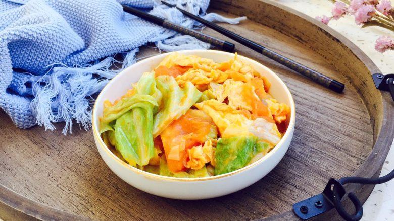 #懒人料理# 西红柿炒鸡蛋圆白菜,漂亮吧!?