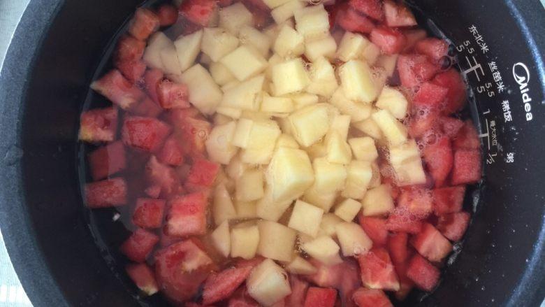 减脂素罗宋汤,放入红萝卜、番茄和土豆