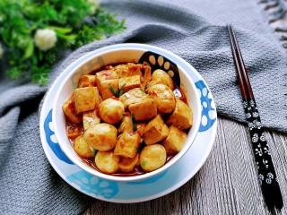 鹌鹑蛋烧豆腐,成品!鲜咸美味又营养!
