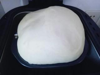 最爱面包+葡萄干小面包,发酵好的面团,发酵时间为90分钟,已经满桶,可以用手指摁一下,不反弹即为发酵完成。
