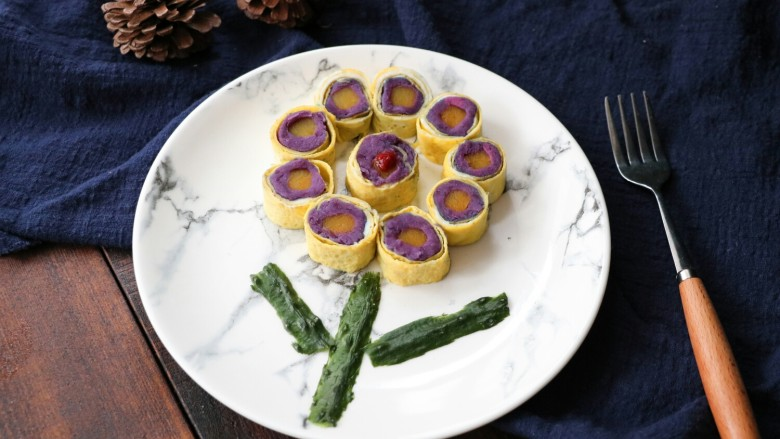 南瓜紫薯蛋卷