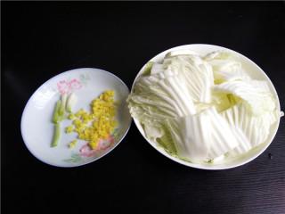 猪肉白菜炖粉条,白菜切段,葱白切段,葱绿切葱花、老姜切成姜末;