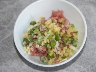 菠菜猪肉丸汤,猪肉碎和葱姜蒜末都放一起