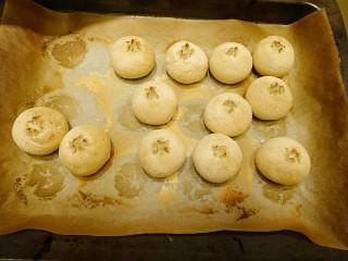 最爱面包+米製小面包,烘烤完成,立刻拿出烤盤在桌上敲一下,讓熱氣散出定型。然後取出放涼。