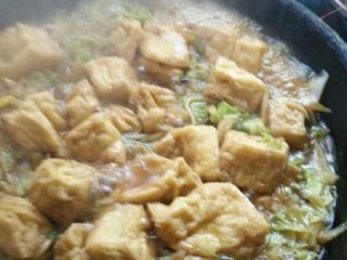 白菜粉条豆泡炖一锅,炖一会成这个样子,准备出锅