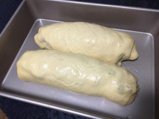 最爱面包➕新疆三果大列巴,大列巴发酵至原来的2倍即可。 此时烤箱预热,烤箱上下管加热,温度为170度。
