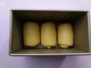 最爱面包+南瓜吐司,卷好的面团依次同方向摆入450g的吐司盒内