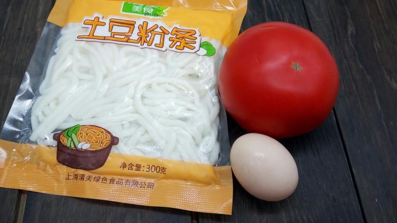 一碗面条+番茄鸡蛋粉,准备好食材
