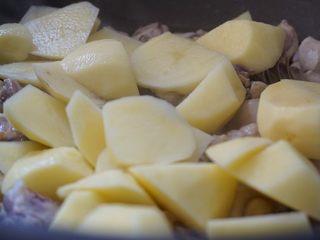 咖喱土豆炖鸡块,鸡块炒软,倒入土豆块一起翻炒