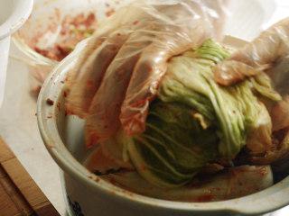 制作自家口味的韩式泡菜,将白菜卷起来。这样可以使白菜少出水,味道浓郁。