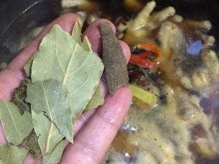 秘制鸡爪,加入香叶和桂皮。