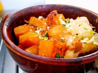 #感恩节食谱#南瓜蜜柚烤鸡肉,撒适量白芝麻,香菜末,蒜末!!!太棒了!非常值得一试